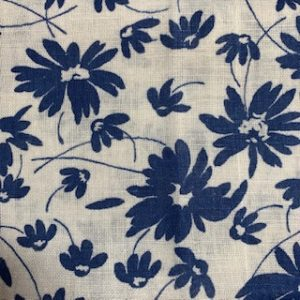 Feed Sack Vintage Fabric – white, navy flowers