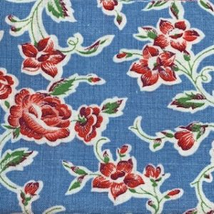 Feed Sack Vintage Fabric – blue background,red flowers