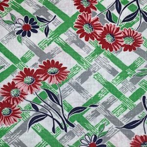 Feed Sack Vintage Fabric – green/grey stripe, red flower