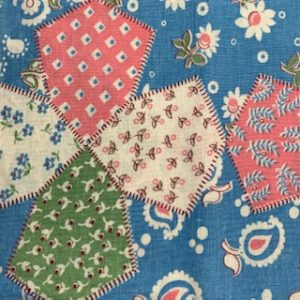 Feed Sack Vintage Fabric – patchwork green,blue,pink