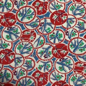 Feed Sack Vintage Fabric – red circles