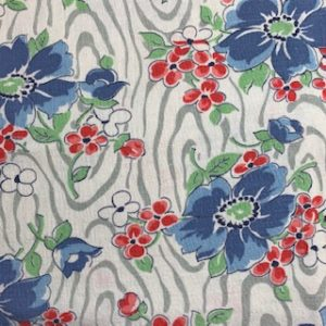 Feed Sack Vintage Fabric – white/grey, blue & red flowers