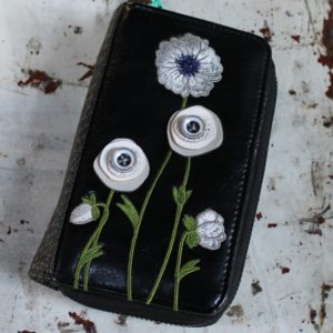 White Poppy Zip Around Wallet Medium