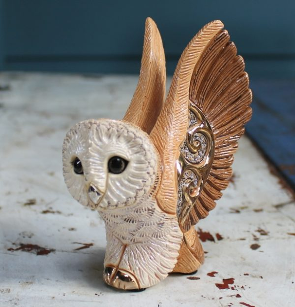 morpeth gift gallery hunter valley rinconada de rosa pottery enamel gold gilded figurine uruguay collectable barn owl