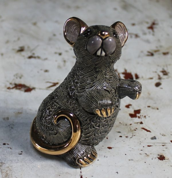 morpeth gift gallery hunter valley rinconada de rosa pottery enamel gold gilded figurine uruguay collectable black rat mouse
