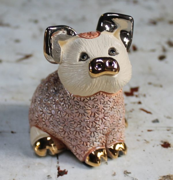 morpeth gift gallery hunter valley rinconada de rosa pottery enamel gold gilded figurine uruguay collectable pig pink