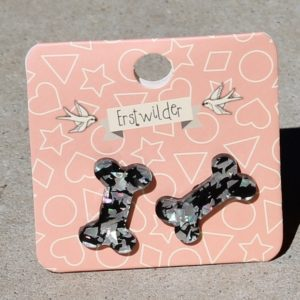 Erstwilder Earrings – Bones Silver Glitter Stud