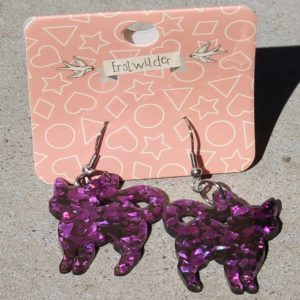 Erstwilder Earrings – Cat Purple Glitter Drop