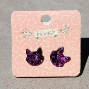Erstwilder Earrings – Cat Face Purple Glitter Studs
