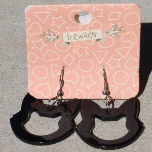 Erstwilder Earrings – Cat Face Black Drops