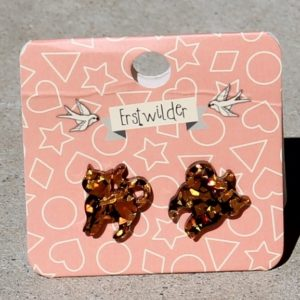 Erstwilder Earrings – Cat Orange Glitter Studs