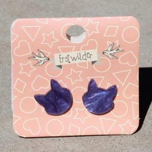 Erstwilder Earrings – Cat Face Purple Sparkle Studs