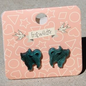 Erstwilder Earrings – Cat Green Swirl & Sparkle Studs