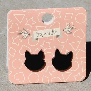 Erstwilder Earrings – Black Cat Face Studs