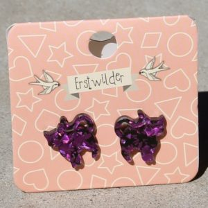 Erstwilder Earrings – Cat Purple Glitter Studs