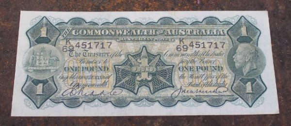 morpeth antique centre hunter valley australian one pound banknote king george V