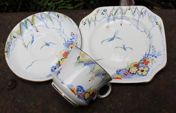 morpeth antique centre hunter valley carltonware trio floral birds swallow blue