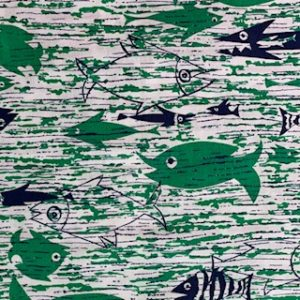 Feed Sack Vintage Fabric – Green & Navy Fish