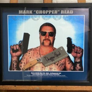 Framed Meat Cleaver signed by Chopper – SOLD