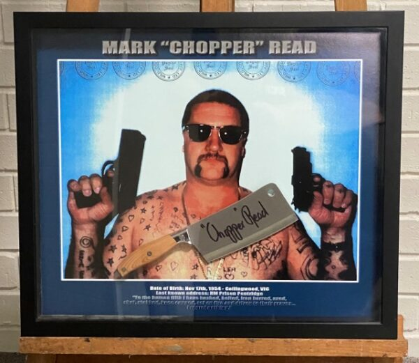 morpeth gallery hunter valley mark brandon chopper read underbelly framed signed meat cleaver