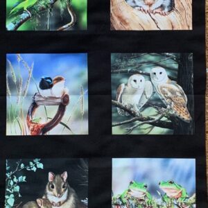 Fabric Panel with 10 wildlife images includes Frogs, Owls, Wrens, Possum…..