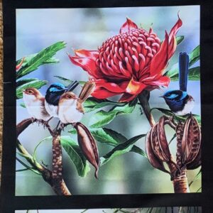 Fabric Panel 3 images Rosellas, Waratah & Wrens, King Fisher