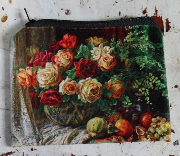 morpeth gift gallery hunter valley zip zippered purse coins toiletries make-up keys ann morton roses lace still life autumn harvest