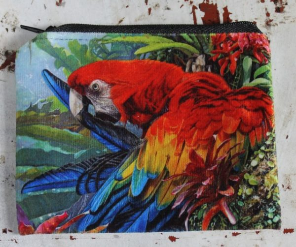 morpeth gift gallery hunter valley zip zippered purse coins toiletries make-up keys stephen jesic morning reflections red blue gold macaw parrot amazon