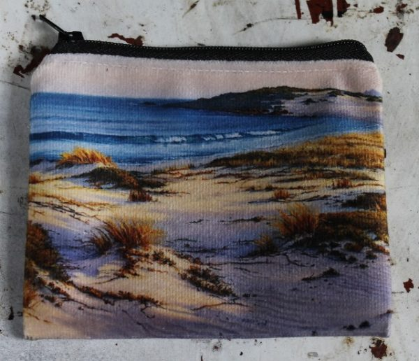 morpeth gift gallery hunter valley zip zippered purse coins toiletries make-up keys robyn collier colier sand dunes australian beach scene golden afternoon
