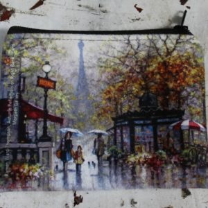 morpeth gift gallery hunter valley zip zippered purse coins toiletries make-up keys ramon ward thompson autumn reflections paris french france eiffel tower parisian flower market