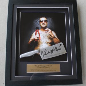 Mark Chopper Read Framed Print with Signed Meat Cleaver